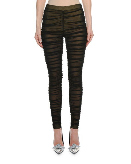 Ruched Sheer Leggings w/ Lining