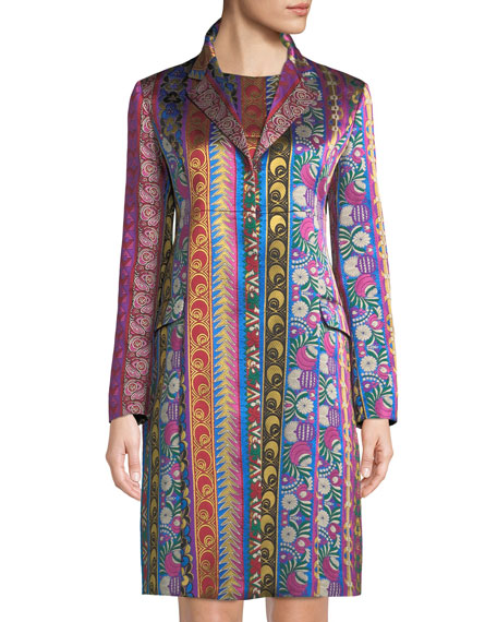 Multi-Ribbon Jacquard Hook-Front Topper Jacket