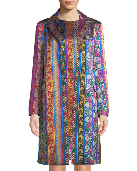 Etro Multi-Ribbon Jacquard Hook-Front Topper Jacket and Matching