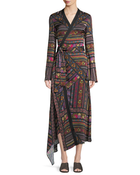 Faux-Wrap Long-Sleeve Ribbon-Print Asymmetric Dress, Black