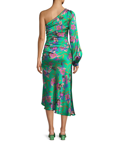 One-Sleeve Shirred Floral-Print Hammered Silk Midi Dress