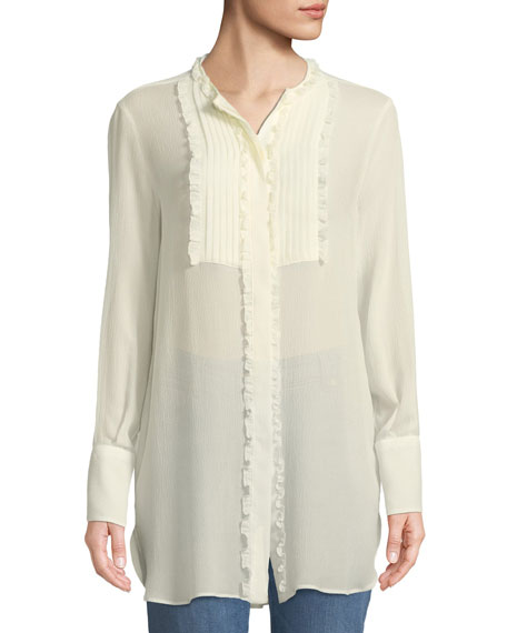 Long-Sleeve Silk Georgette Tunic w/ Ruffled Pleated Bib
