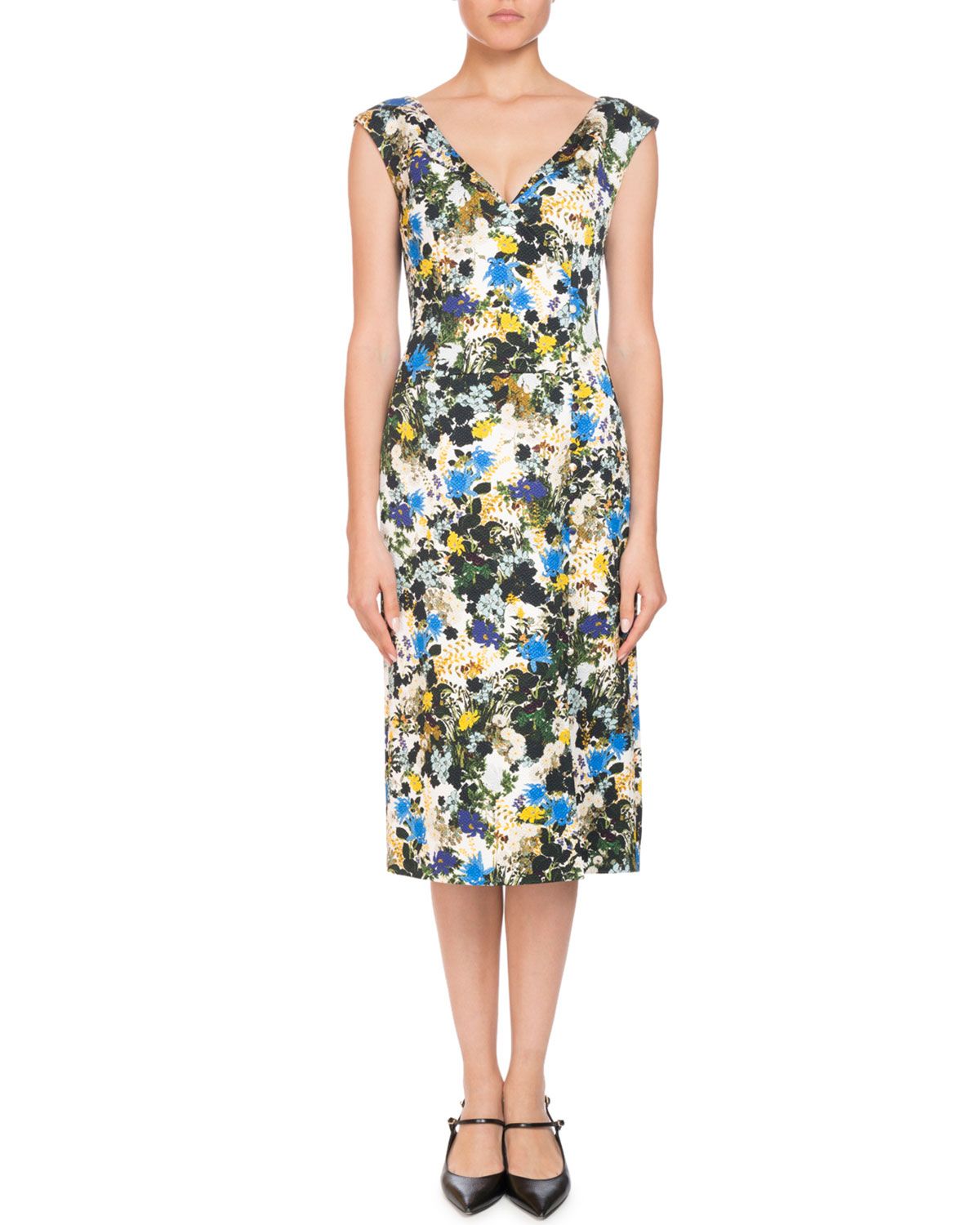 4b25fc4dc47f ErdemJyoti Off-the-Shoulder V-Neck Meadow Floral Jacquard Sheath Dress