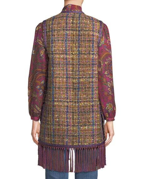 Etro Tweed Fringe-Hem Vest