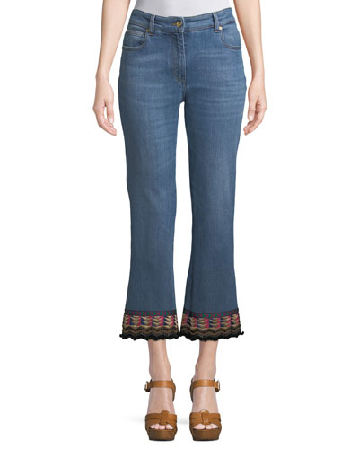 Cropped Jeans w/ Passementerie Detail
