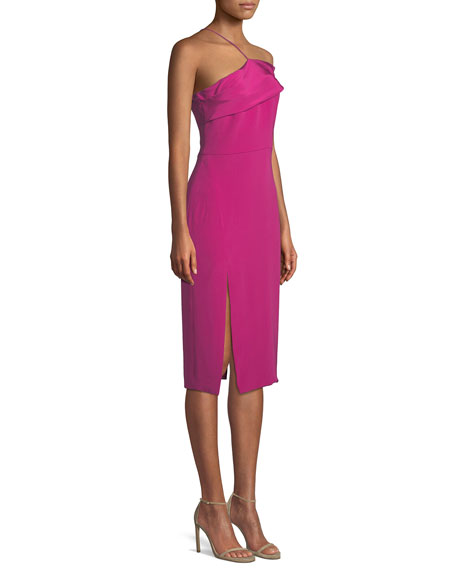 Twisted-Bustier Sleeveless Silk Crepe Sheath Dress