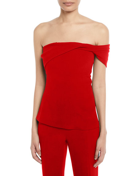 One-Shoulder Fluid Cady Bustier Top, Red