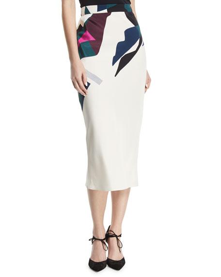 Expressionist-Print Bias-Cut Silk Crepe Midi Straight Skirt
