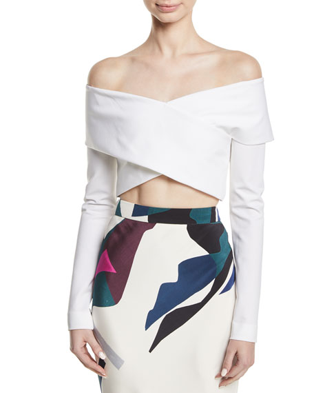 CUSHNIE Off-the-Shoulder Crisscross Cropped Top