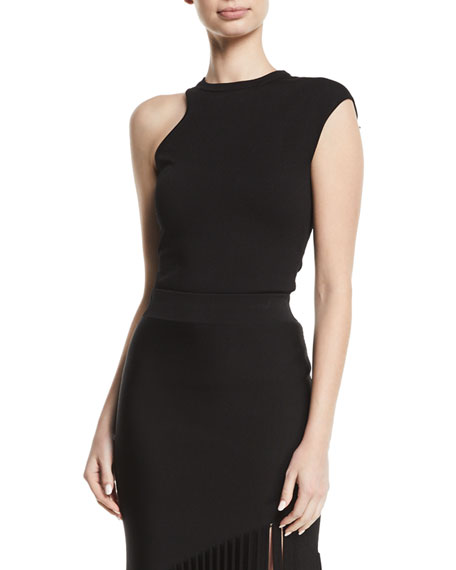 Cushnie Et Ochs One-Shoulder Cap-Sleeve Jersey Knit Top