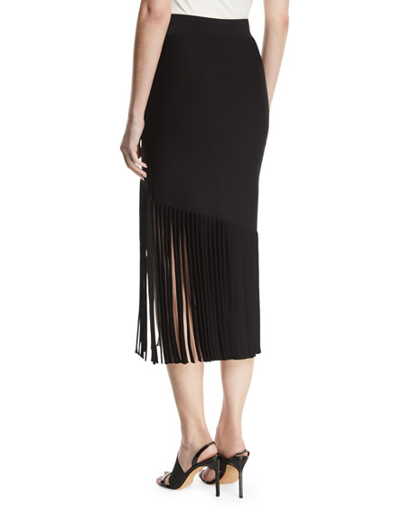 High-Waist Fitted Crepe Midi Skirt with Fringed Hem