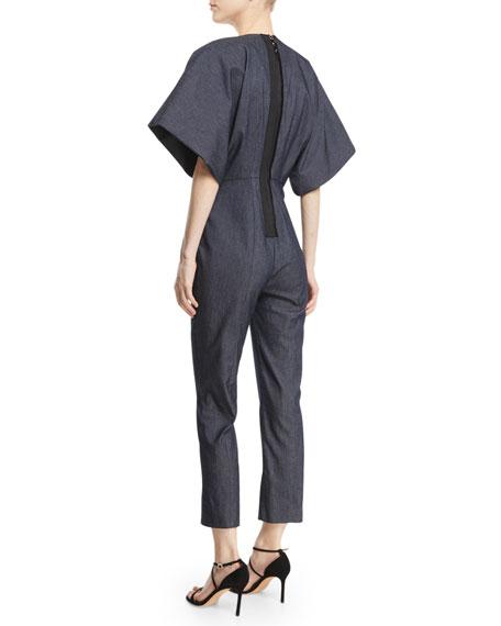 Deep-V Kimono-Sleeve Skinny Denim Jumpsuit