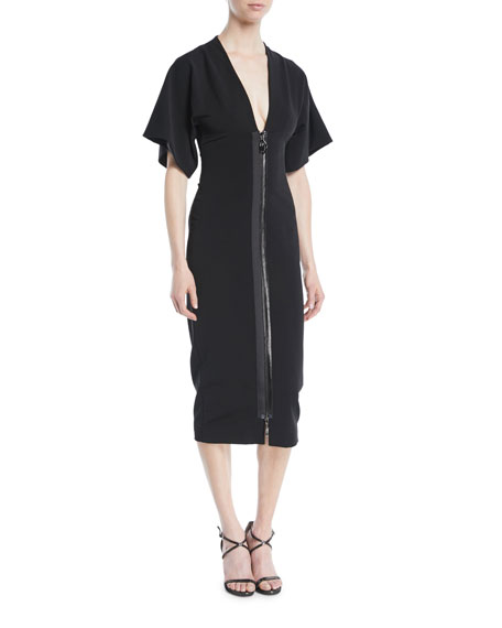 Cushnie Et Ochs Deep-V Two-Way Zip Kimono-Sleeve Midi