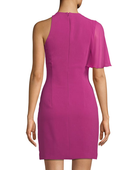Cutout-Neck Fitted Stretch-Cady Cocktail Dress w/ Flutter Detail