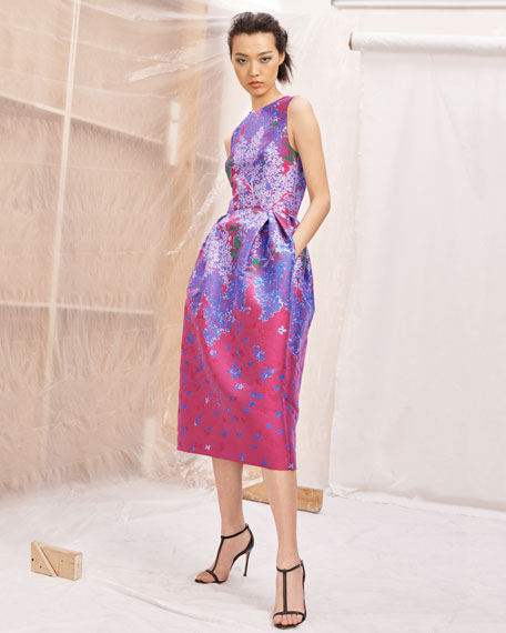 Sleeveless Full-Skirt Floral-Brocade Tea-Length Dress