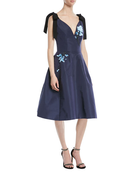 Carolina Herrera Sleeveless Bow-Shoulder Fit-and-Flare Cocktail