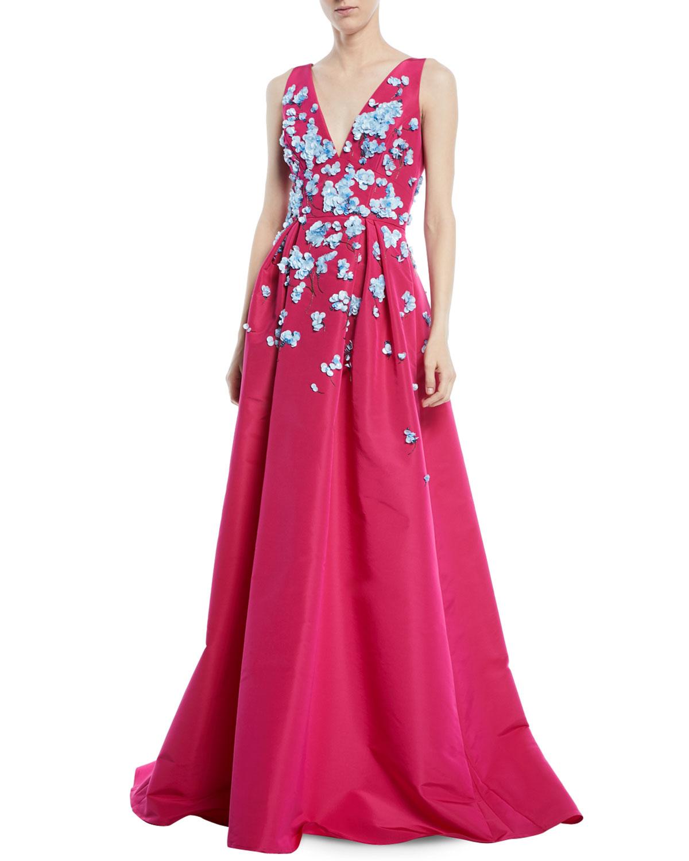 Carolina Herrera Sleeveless V Neck Full Skirt Evening Gown With