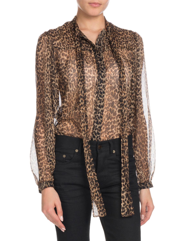 Saint LaurentLong-Sleeve Button-Down Leopard-Print Sheer Silk Blouse with  Neckties f026e89bb