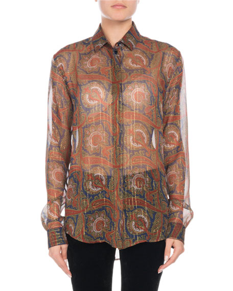 Long-Sleeve Button-Front Metallic-Paisley Silk Shirt