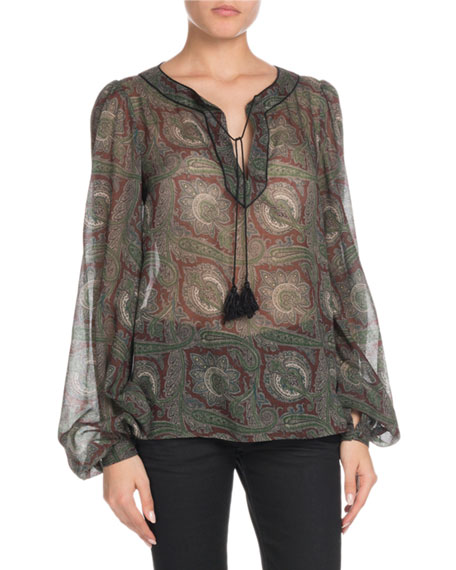 Tassel-Tie Neck Paisley-Print Sheer Wool Blouse