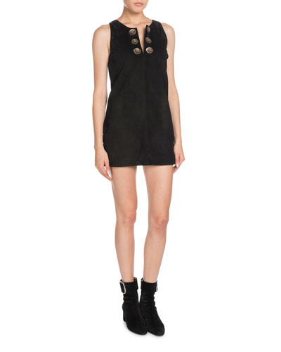 Sleeveless A-Line Suede Mini Dress with Medallions