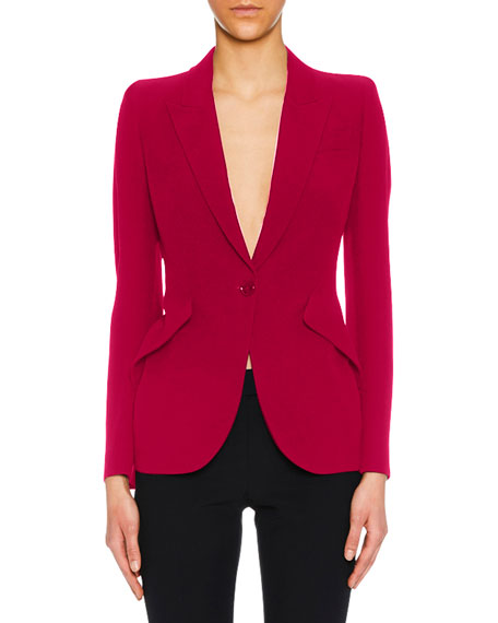 Peak-Lapel One-Button Leaf Crepe Blazer