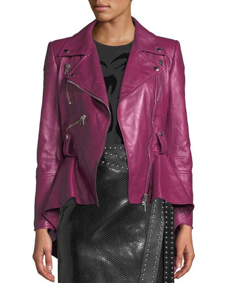 Zip-Front Peplum Leather Moto Jacket