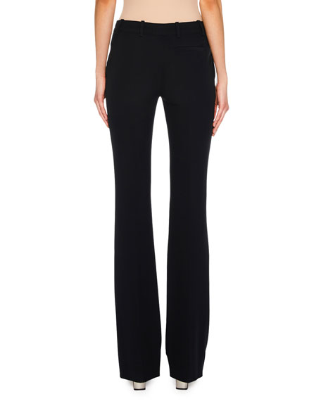 Flat-Front Boot-Cut Leaf Crepe Pants