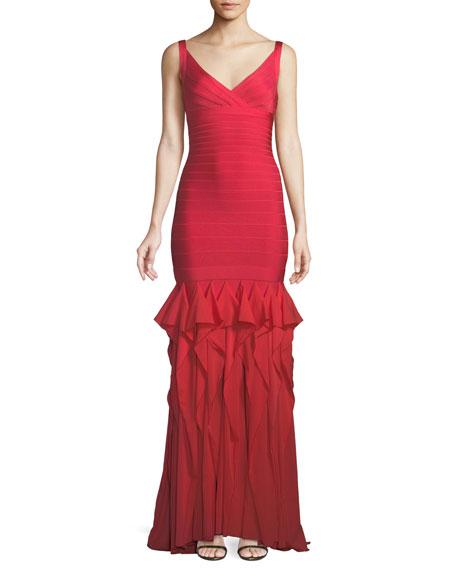 V-Neck Sleeveless Bandage Evening Gown w/ Ruffled Chiffon Skirt