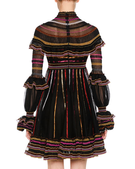 Turtleneck Long-Sleeve Metallic-Striped Fit-and-Flare Dress