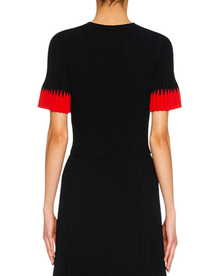 Jewel-Neck Short-Sleeve Ribbed Top w/ Contrast Tips