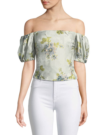 Boie Off-the-Shoulder Peony Silk Jacquard Corset Top