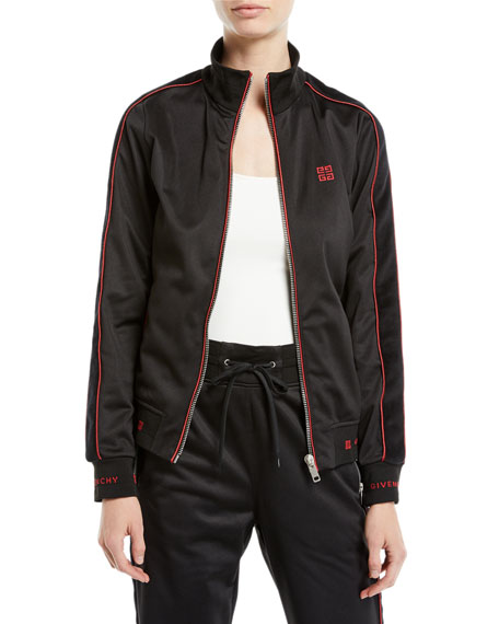 Zip-Front Velvet Side-Stripe GG-Logo Tech Jersey Track Jacket