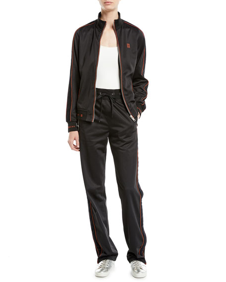 Velvet Side-Stripe Drawstring Track Pants
