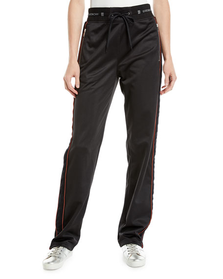 Velvet Side-Stripe Drawstring Track Pants, Black/Red