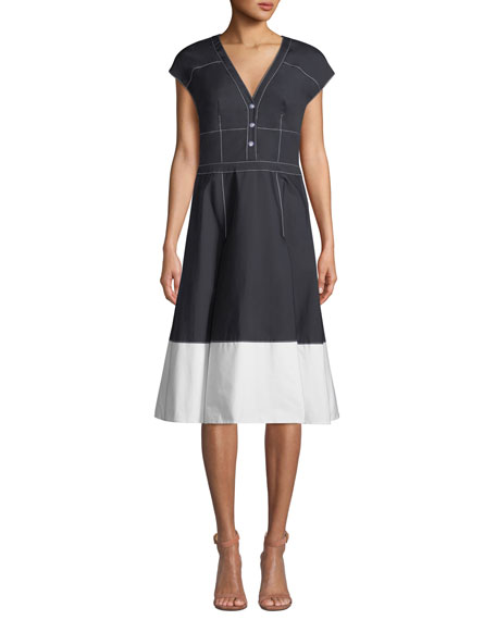 Carolina Herrera V-Neck Cap-Sleeve Colorblock Fit-and-Flare Dress