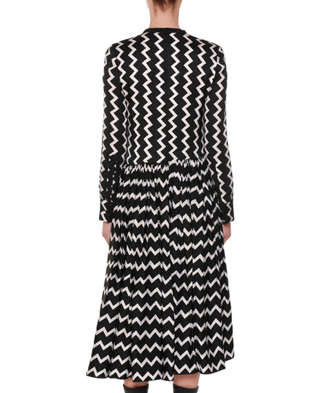 Zigzag-Print Zip-Front Asymmetric-Hem Silk Dress