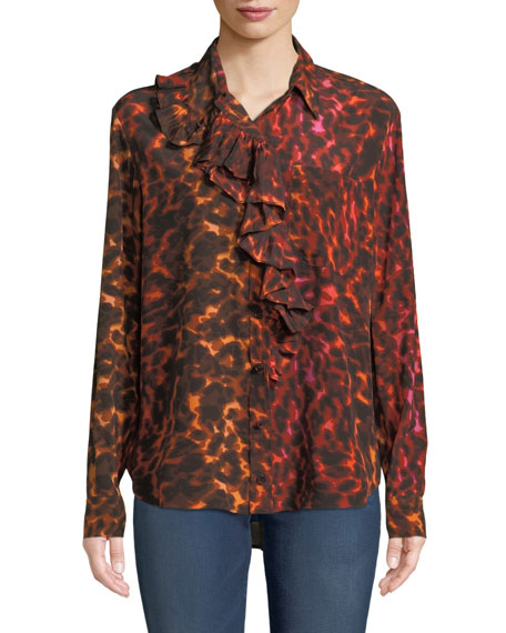 Ruffle-Placket Neon Animal-Print Silk Blouse