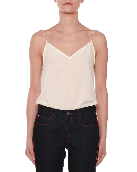 V-Neck Silk Camisole Top