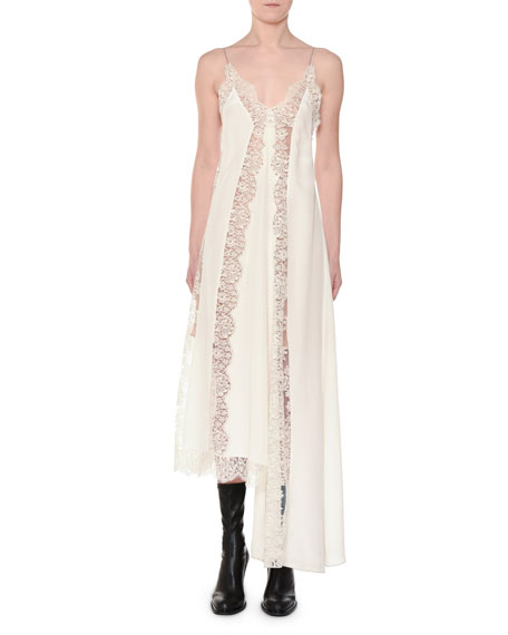 Angie Marocaine V-Neck Sleeveless Silk Lace Cami Dress, Ivory