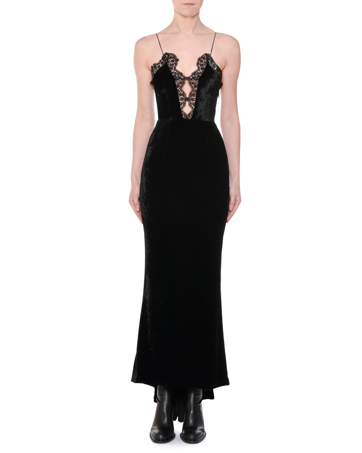 d5d11c4c8971d Stella McCartney Cami-Strap Lace-Front Velvet Evening Gown with Fishtail Hem