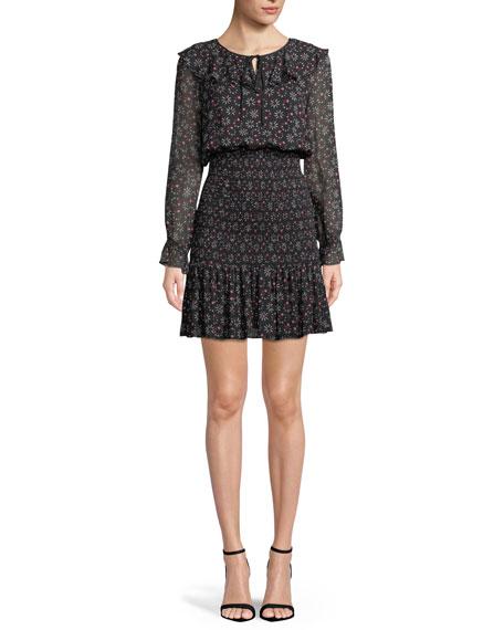 Long-Sleeve Smocked Stargazer-Print Georgette Dress