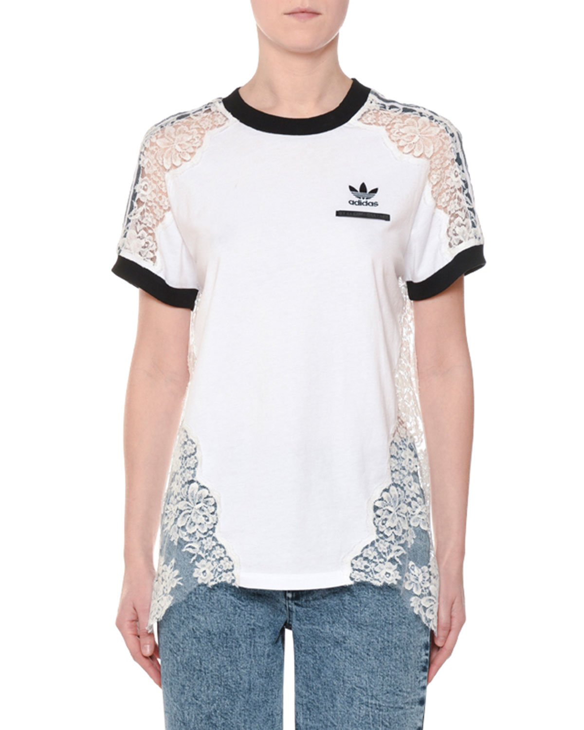 9ef7ff8ef0 Stella McCartney Crewneck Short-Sleeve Adidas T-Shirt w  Lace Inset ...