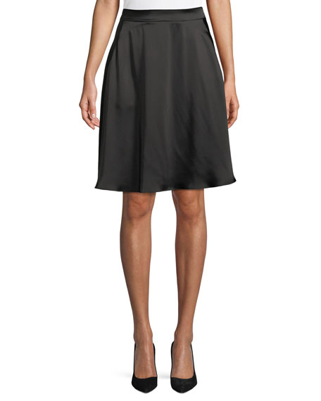 Satin A-Line Knee-Length Skirt