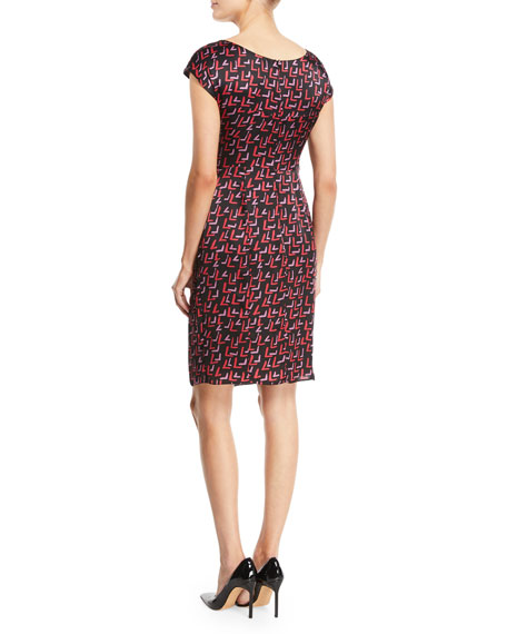 Cap-Sleeve Belted-Front Check-Print Silk Dress