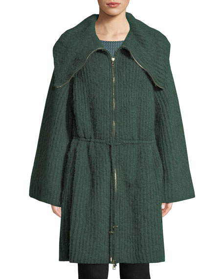 Zip-Front Ruched-Waist Mohair-Blend Sweater w/ Exaggerated Collar