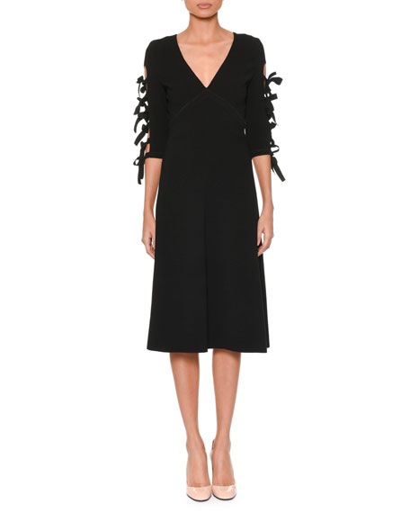 Bottega Veneta V-Neck Bow-Sleeve A-Line Crepe Dress