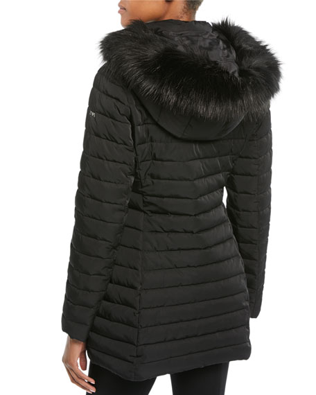 Zip-Front Fitted Quilted Puffer Parka Jacket w/ Detached Hood