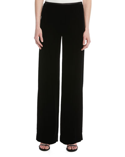 Wide-Leg Side-Zip Velvet Pants