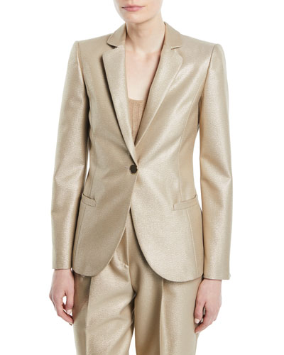 One-Button Metallic Wool Classic Jacket